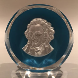Vintage Baccarat Faceted Art Glass Paperweight Thomas Paine Sulphide on Blue
