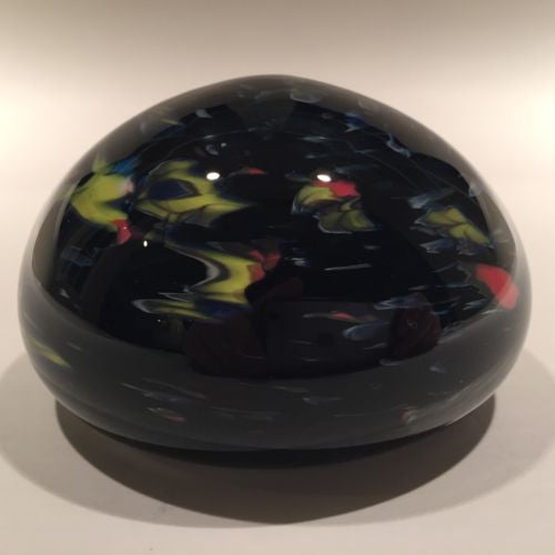 Signed Hilltop Artists Art Glass Paperweight Colorful End Of Day Swirl