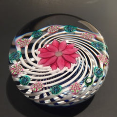 Signed Peter Holmes Selkirk Art Glass Paperweight millefiori floral White Spiral