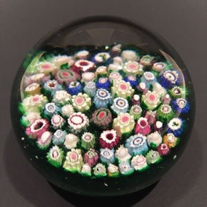 Rare Antique Riedel Art Glass Paperweight Close Packed Complex Millefiori
