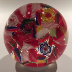 Vintage Chinese Art Glass Paperweight End Of Day Scramble Twists & Millefiori