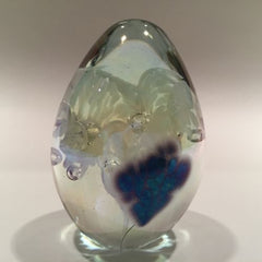 Signed Roger Vines MSH Ash Art Glass Paperweight Purple Iridescent Egg