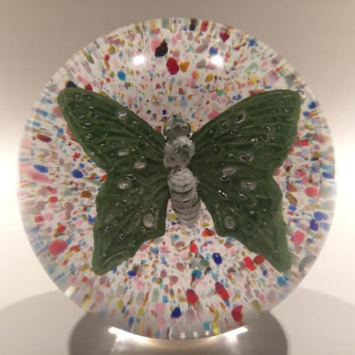 Rare Vintage Charles Degenhart Art Glass Paperweight Encased Green Butterfly