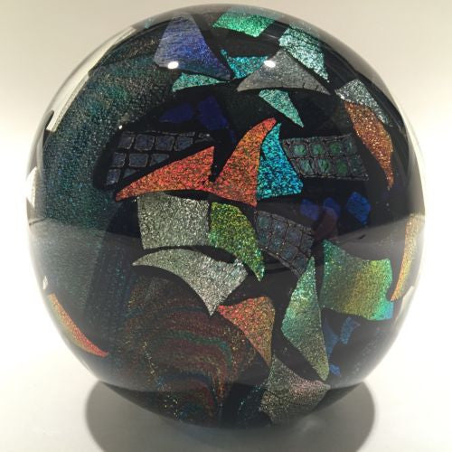 Huge Bruce Freund Art Glass Paperweight Encased Geometric Dichroic Design