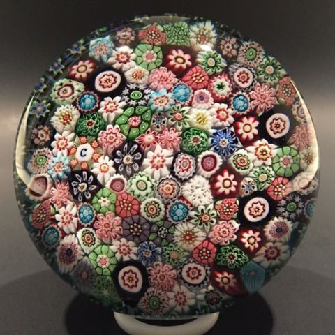 Rare Signed Antique Clichy Art Glass Paperweight Closepacked Complex Millefiori