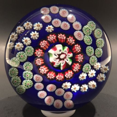 Antique Clichy Art Glass Paperweight Complex Millefiori Garland On Blue Ground