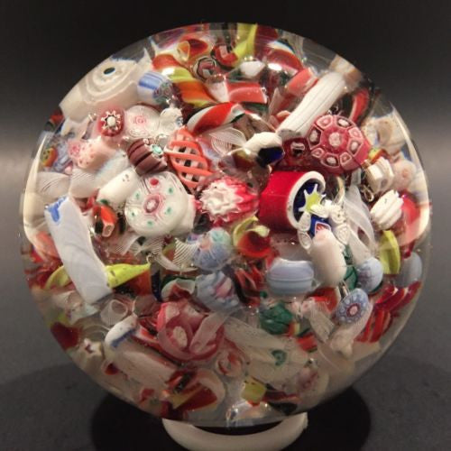 Antique New England Glass Co. Art Glass Paperweight Millefiori scramble