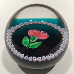 Vintage Caithness Art Glass Paperweight Lampworked August Carnation & Millefiori