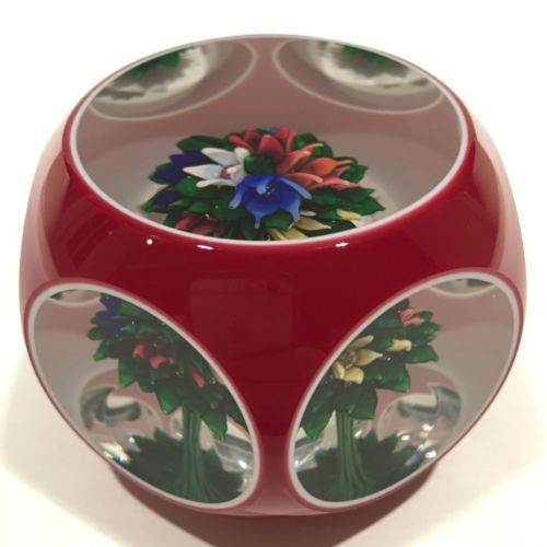 Vintage Saint Louis Art Glass Paperweight Upright Bouquet Faceted Overlay