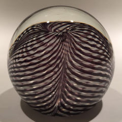Signed Correia Art Glass Paperweight Black & White Pulled Feather Stripes
