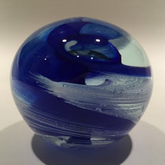 Signed Modern American Studio Art Glass Paperweight Blue & White Swirl