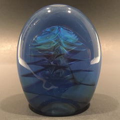 Rare Michael O'keefe Art Glass Paperweight Opalescent Ruffles In Blue