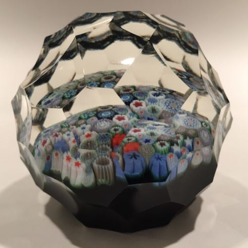 Orient & Flume Art Glass Paperweight Close Packed Millefiori Complex Faceting