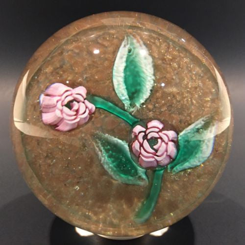 Vintage Murano Art Glass Paperweight Lampworked Rose Millefiori On Aventurine