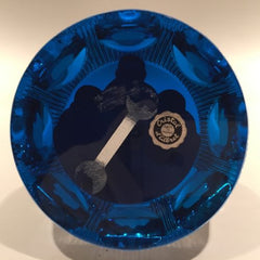 "Cristal D'Albert Faceted Art Glass Paperweight ""The Moon Astronauts"" Sulphide"