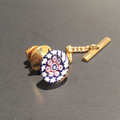 Vintage Caithness Art Glass Paperweight Jewelry Millefiori Tie Tack Pin