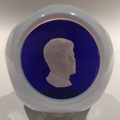 Vintage Baccarat Art Glass Paperweight John F Kennedy Sulphide With Blue Overlay