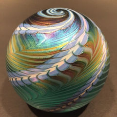 Signed Ornamental Blown Glass OBG Art Glass Paperweight Blue Iridescent Spiral