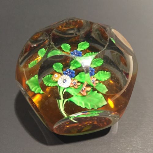 Antique St Louis Art Glass Paperweight Multifaceted Millefiori Nosegay Bouquet