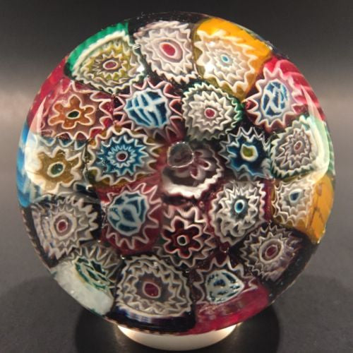 Vintage Murano Art Glass Paperweight Concentric Complex Millefiori Ruffle Canes