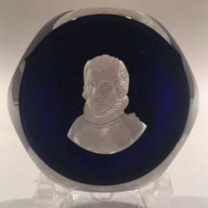 Vintage Cristal D'Albert Art Glass Paperweight Christopher Columbus Sulphide