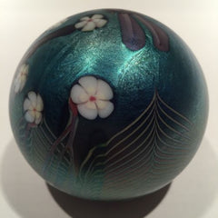 Vintage Orient & Flume Art Glass Paperweight Blue Iridescent Dragonfly