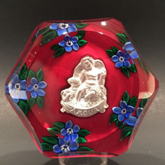 Vintage Saint Louis Art Glass Paperweight Amour Sulphide Lampworked Flowers
