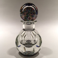 Vintage Perthshire Faceted Art Glass Paperweight Bottle Close Packed Millefiori