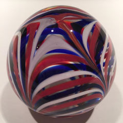 Vintage American MMA Art Glass Paperweight Red White Blue Marbrie