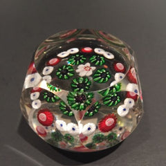 Antique Clichy Faceted Art Glass Paperweight Complex Millefior