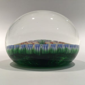 Vintage Medium Perthshire Art Glass Paperweight Twists and Millefiori on Green