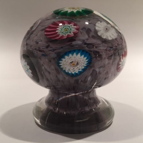 Unusual Murano Art Glass Paperweight Piedouche Millefiori on Purple