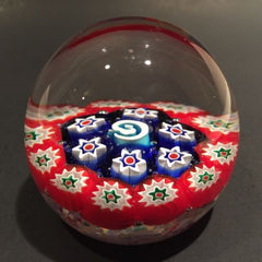 Vintage Murano Art Glass Paperweight Concentric Millefiori Unusual Center Cane