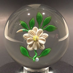 Rare Vintage Hugh Smith Art Glass Paperweight White Floral Lampwork