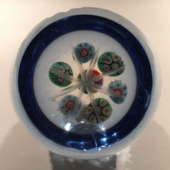 Vintage Murano Art Glass Paperweight Millefiori Blue Flash Fancy Cut Faceting