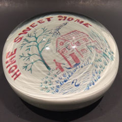 "Huge 4"" Antique Millville Art Glass Paperweight Colors Frit ""Home Sweet Home"""