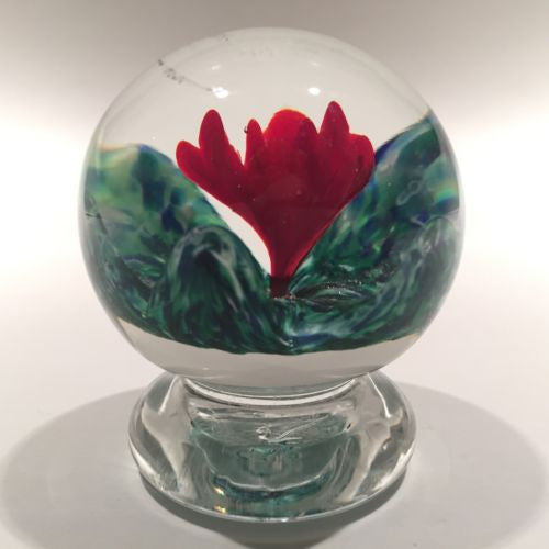 Rare Vintage Joe Zimmerman Art Glass Paperweight Footed Crimp Red Rose