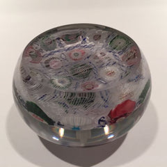 Rare Antique Clichy Art Glass Paperweight Blue Barber Pole Chequer Millefiori