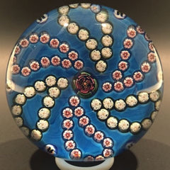 Early Parabelle Art Glass Paperweight Rose Cane Millefiori Garland Blue Ground