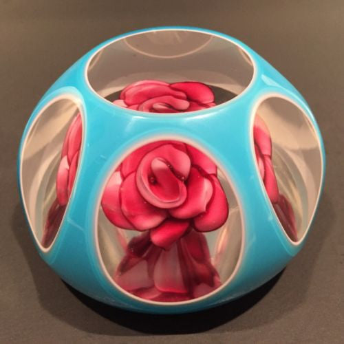 Rare Murano Art Glass Paperweight Crimp Rose w/ Blue Overlay 1885 Date Cane