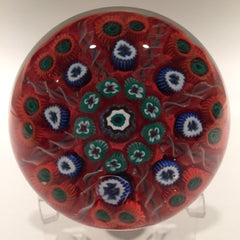 Vintage Strathearn Art Glass Paperweight Doorknob Twists & Millefiori On Red