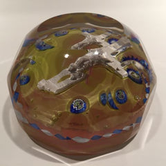 Antique Val St Lambert Art Glass Paperweight Cross Sulphide & Millefiori