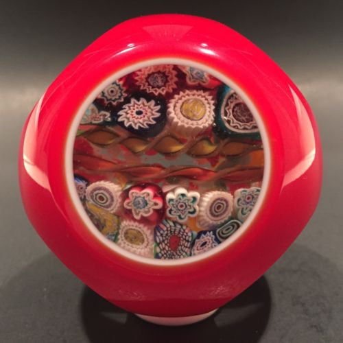 Vintage Murano Art Glass Paperweight Complex Millefiori  Red & White Overlay