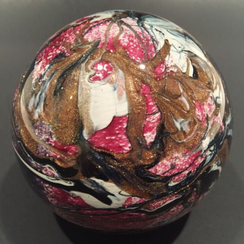 Rare Signed Michele Luzoro Modern French Art Glass Paperweight Red w/ Aventurine