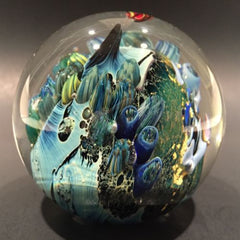 Signed Josh Simpson Art Glass Paperweight Complex Inhabited Planet