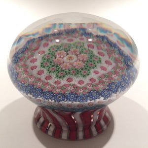 Rare Clichy Art Glass Paperweight Complex Close Packed Millefiori Piedouche