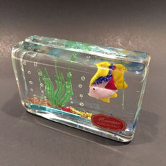 Vintage Murano Art Glass Paperweight Detailed Lampworked Tropical Fish Aquarium