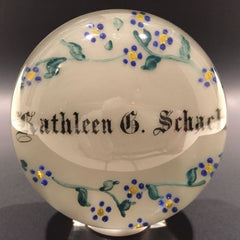Rare Antique Albert Graeser Art Glass Paperweight Floral White Name Plaque