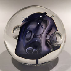Signed Rollin Karg Art Glass Paperweight Modern Metallic Purple Control Bubbles