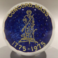 Vintage Art Glass Frit Paperweight Concord Ma American Revolution Bicentennial